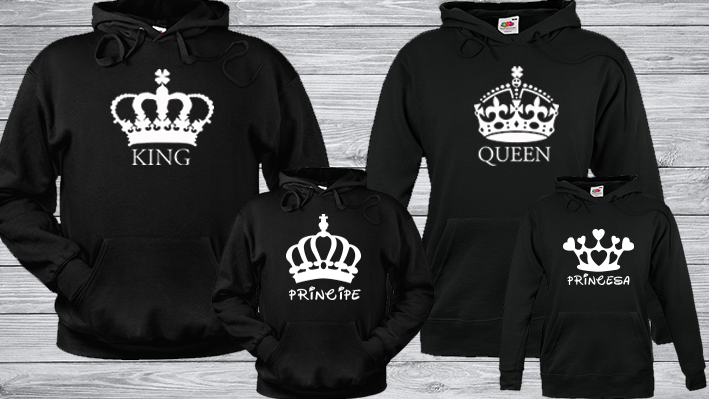 sudadera familia diseño queen king and princess