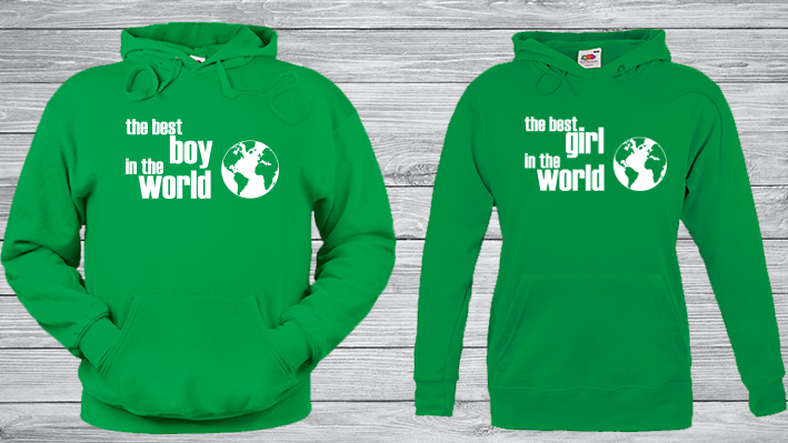 Sudadera parejas divertida the best boy, capucha verde